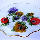 Glass Cake Dish with Floral Motifs by BlueMoonRose