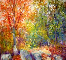 Fall trees and rocks by Julia Lesnichy