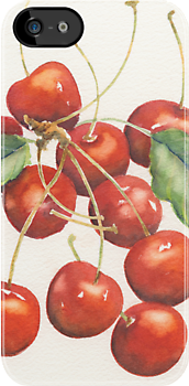 Cherries iPhone case by Marsha Elliott