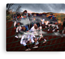 onto the playing field..... into battle Canvas Print