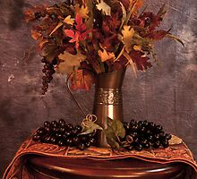 Beautiful Fall Arrangement with Grapes by Sherry Hallemeier