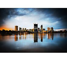 City Skyline at Night Photographic Print
