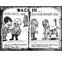 Gilad Shalit and Palestinian former Prisoner Back Home cartoon Photographic Print