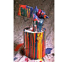 Hand coming out of paint can Photographic Print