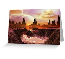 Two Moons at Twilight  Greeting Card