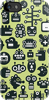 Robots faces green. by Ekaterina Panova
