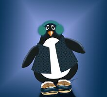 Penguin With Snowboots iPhone Case by Cherie Balowski