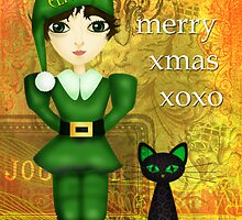 Elfin & her cat, Winkz! by Rosie Rowe