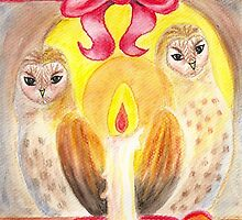 Barn Owls in Candlelight by Almonda