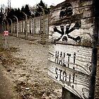 Warning sign at Auschwitz by Wintermute69