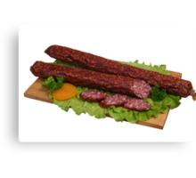 Smoked sausage on wooden board 2 Canvas Print