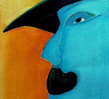 man with hat and moustache by agnès trachet