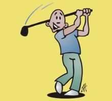 Golf, golfer taking a swing at it. by cardvibes