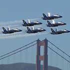 Blue Angels 1-6 and the Golden Gate Bridge by Barrie Woodward