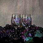 Hand Painted Wine Glasses, Grapes &amp; More Grapes by Sherry Hallemeier