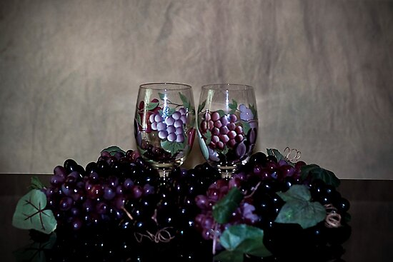 Hand Painted Wine Glasses, Grapes & More Grapes by Sherry Hallemeier