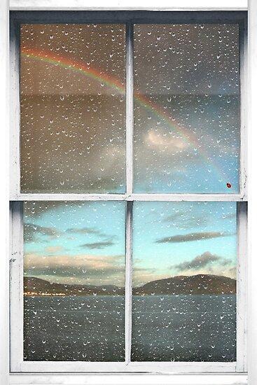 Window Art 2 - Scottish Hills and rainbow by Michael Murray