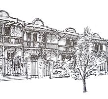 Kensington, Melbourne. Bendall St houses. by Elizabeth Moore Golding