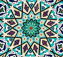 Turquoise Mosaic Pattern on Mosque by Haggiswonderdog