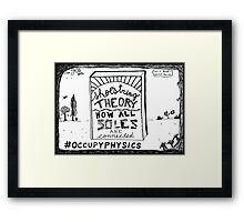 Shoe string theory book title cartoon Framed Print