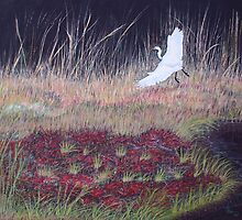 """Heron Over Autumn Marsh"" by Cindy Longhini"