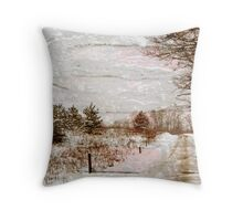 Country Road in Winter with Texture Throw Pillow