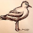Profile seagull: pen and wash by Elizabeth Moore Golding