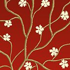 Red with Flowering Branches by Sarah Countiss