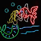 Mermaid and Fish Neon Sign by Karin  Hildebrand Lau