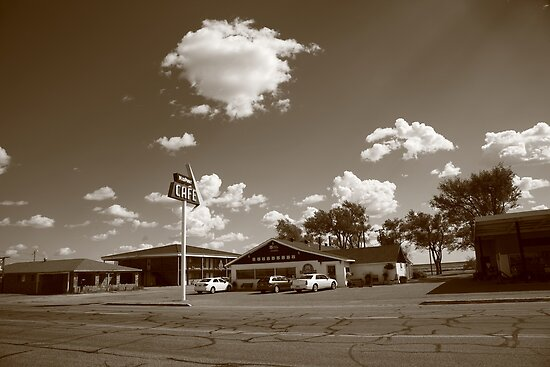 Route 66 - MidPoint Cafe, Adrian Texas by Frank Romeo
