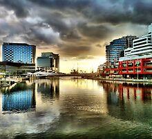 Sunset, Melbourne wharf by sebastian