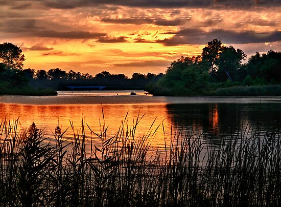 Sunset On Horseshoe Pond by Kathy Weaver
