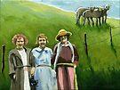 Women on the Farm - original mixed media  by LindaAppleArt