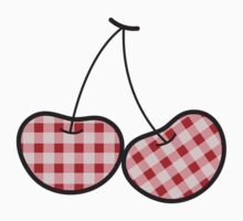 Red Plaid Cheeky Cherries T-shirt by fatfatin