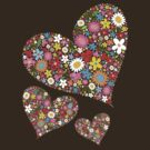 Spring Flowers Valentine Hearts Trio by fatfatin