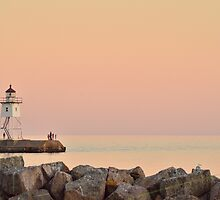 Sunset at Lake Superior North Shore by Samuel  Wright