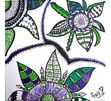 Spiky Green & Purple Flowers Photographic Print