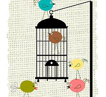 Retro Birds and Bird Cage Art by gailg1957