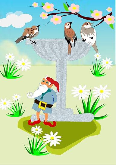 Garden Theme (Bird Bath &Gnome 276 Views) by aldona