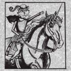 renaissance cat rides a unicorn by flokot