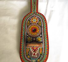 Huichol Art -  little violin or guitar decorated with clourful beads, Puerto Vallarta, Mexico by PtoVallartaMex