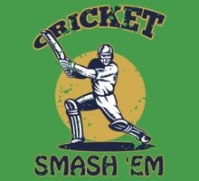cricket player batsman batting smash 'em retro by patrimonio