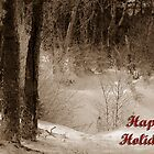 Holiday Card ~ Winter Woods ~  Sepia Duo-tone by Karen Karl