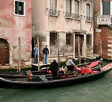 Gondolas, Gondoliers and Buildings, Venice, Italy by Gerda Grice