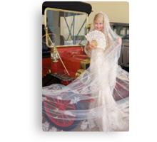 Bride And Antique Car Canvas Print