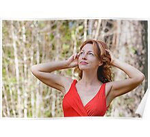 Portrait of woman in nature Poster
