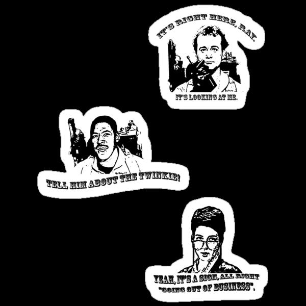 Ghostbusters sticker sheet 1 (Peter, Janine, Winston) by MightyRain