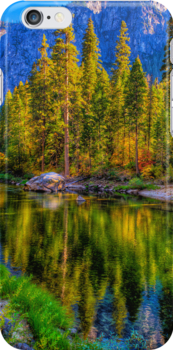 Reflections on the Merced river, Yosemite National Park by Eyal Nahmias