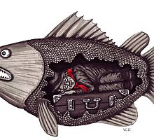 Sleeping inside a fish surreal black and white pen ink drawing by Vitaliy Gonikman
