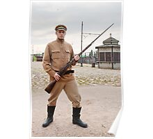 Soldier with  gun in retro style picture Poster